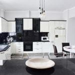 Classy black and white kitchen
